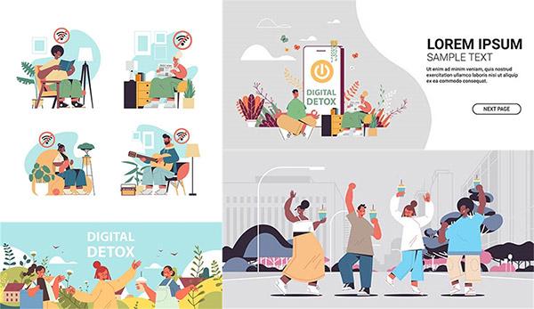 喝饮料的人物等插画创意设计图矢量图下载