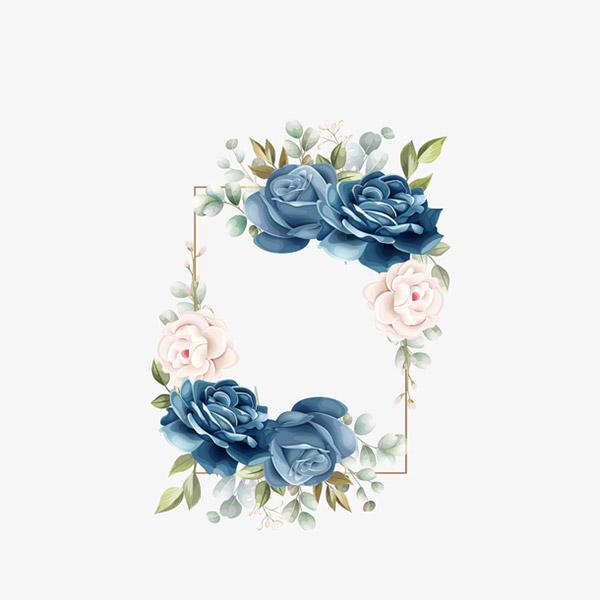 玫瑰花边框元素图矢量图
