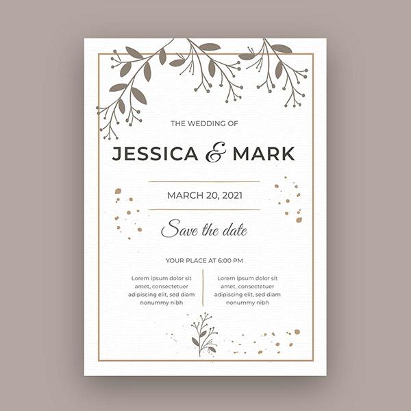小清新婚礼邀请卡模板矢量素材