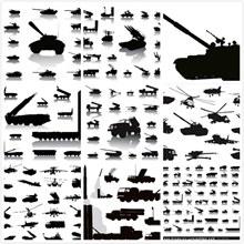 军事设备剪影矢量下载