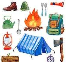 水彩绘野营装备矢量图