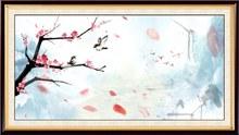 中国风玫瑰花中堂画设计矢量图