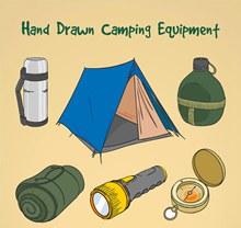 手绘野营装备矢量图片