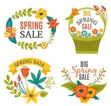 春季花卉促销标签矢量