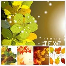 秋天泛黄树叶背景主题矢量图