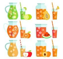 扁平化果汁设计矢量图