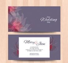 创意花纹婚礼卡片矢量素材