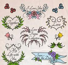 6款彩绘花草婚礼框架图矢量素材
