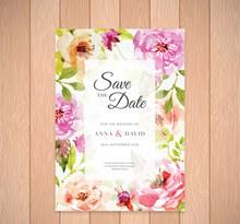 水彩绘花卉婚礼请柬矢量下载