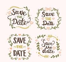 4款彩绘婚礼花环艺术字图矢量图下载