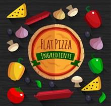 14款扁平化披萨原料矢量素材