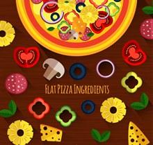美味披萨和原料矢量