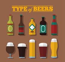 10款扁平化酒类设计矢量图片