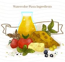 6款水彩绘披萨原料矢量图