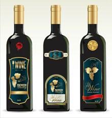 3款精美葡萄酒酒瓶矢量图片