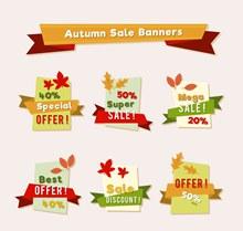 6款扁平化彩色秋季卡片矢量图
