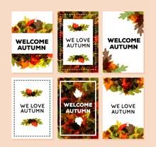 6款彩色秋季落叶卡片矢量图片