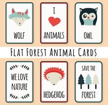 6款扁平化森林动物元素卡片矢量下载
