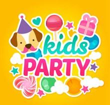 彩色儿童派对贺卡矢量图下载