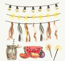 6款水彩绘夏季派对装饰物图矢量下载