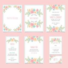 7款素雅花卉卡片设计矢量下载