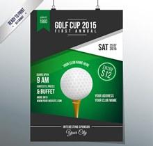 时尚高尔夫球赛海报矢量图