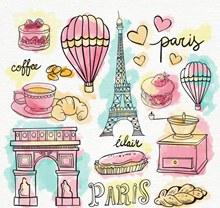 13款彩绘巴黎元素矢量图