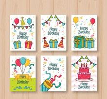 6款彩绘生日礼物卡片矢量