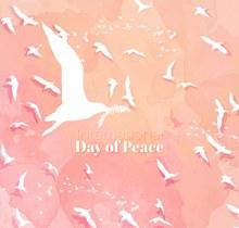 彩绘国际和平日白色鸽子群图矢量图