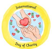 彩绘国际慈善日交换爱心的手臂图矢量下载