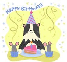 彩绘生日猫咪和蛋糕矢量图