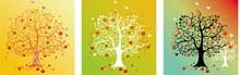 树木元素插画创意设计挂画矢量图下载