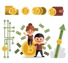 创意男女和金色比特币图矢量图片