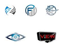 眼睛与圆形等图形创意标志矢量