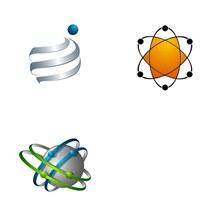 球体与曲线等元素抽象标志矢量图