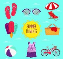 8款彩色夏季假日元素矢量下载