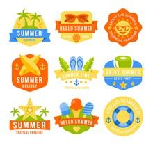 9款彩色夏日假期标签矢量下载