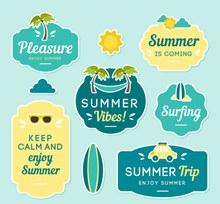 6款创意夏季度假标签矢量下载