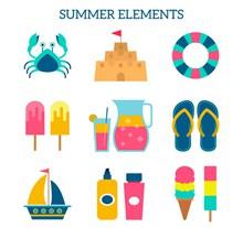 13款彩色夏季沙滩元素矢量图下载