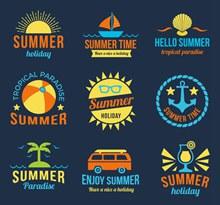9款创意夏季度假标签矢量下载