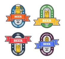4款彩色啤酒标签矢量