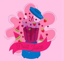 彩绘榨水果汁的榨汁机图矢量素材