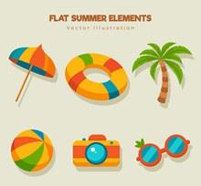 6款彩色扁平化夏季元素图矢量下载