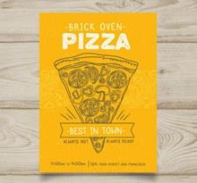 手绘三角披萨传单矢量图片