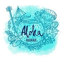 彩绘夏威夷特色元素矢量图下载