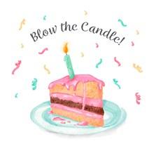 彩绘插着蜡烛的三角蛋糕矢量