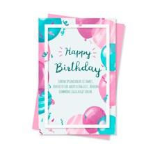 彩绘气球生日祝福卡正反面矢量图片