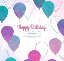 彩绘紫色生日气球贺卡矢量下载