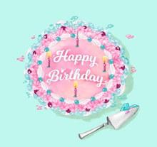 彩色花朵生日蛋糕矢量图
