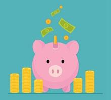 粉色猪存钱罐和金币堆矢量